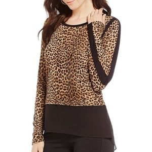 NWT Michael Kors leo mixed media top S